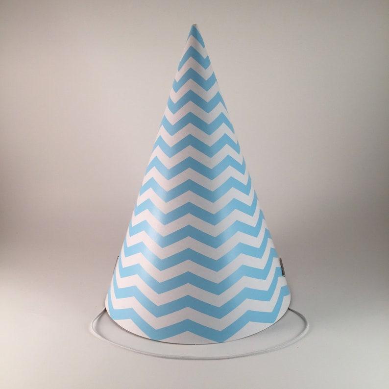 12 party hats Blue & White Zig Zag Stripes chevron pattern Set image 0