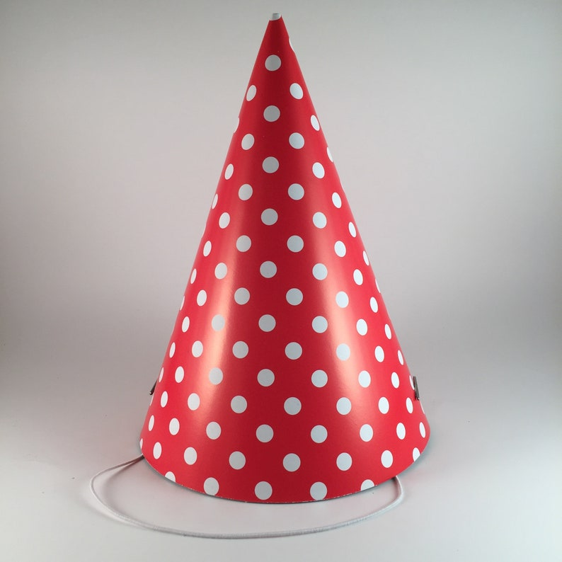 12 party hats Red & White Polka Dots set of 12 paper cone hat image 0