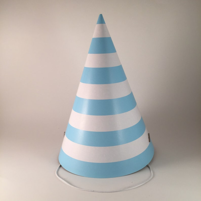 12 party hats Blue and White Stripes set of 12 paper cone hat image 0