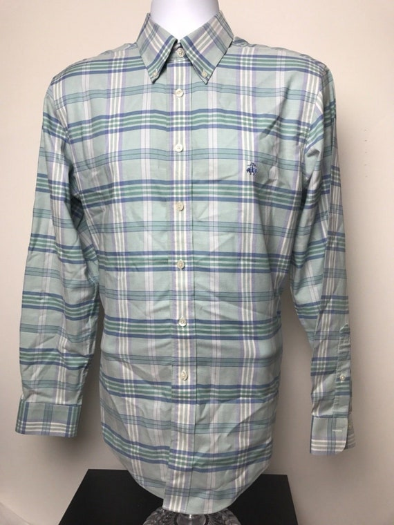 0e6ae7837 Vintage Brooks Brothers Regent Purple Blue White Plaid Non
