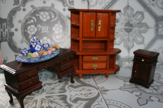 Doll House Furniture  Vintage Doll Furniture Wooden 4 Drawer Dresser Toy Furniture Retro Toy Furniture