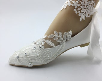 cfb92e093 Lace flower lady shoes