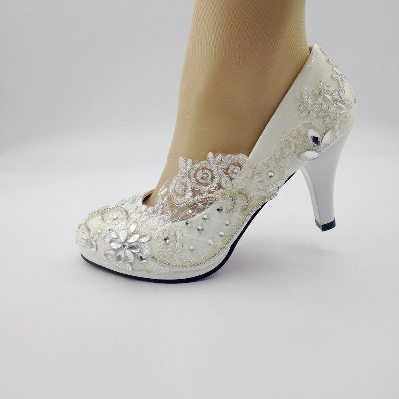 c5fa151e2ef Lace flower lady shoes,White lace Wedding Shoes Bridal 3 inch Heel shoes  Size US 5.-9.5