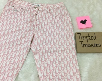 a47507b0cb4 Authentic Christian Dior Pink monogram trotter logo print Capri Ankle pants  | Top | shirt | skirt | trousers | dress