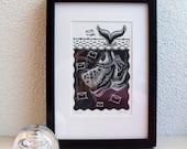 "Linoprint from the ""underwater"" series: Postvis (post-fish)"