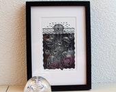 "Linoprint from the ""underwater"" series: IJsbeer on the rocks (polar bear)"
