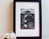 "Linoprint from the ""underwater"" series: Kikvorsduiker (frog-diver)"