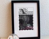 """Linoprint from the """"underwater"""" series: zo glad als een aalscholver (cormorant)"""