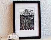"Linoprint from the ""underwater"" series: Inktvis duiker (squid-diver)"