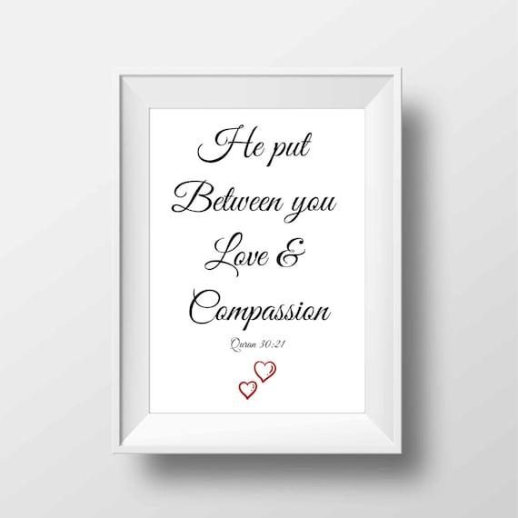 Impression De Citation De Mariage Islamique Avec Coran Verset Amour Et Compassion Musulman Wall Art Cadeau Citations D Amour Islamique Pour Mari Et