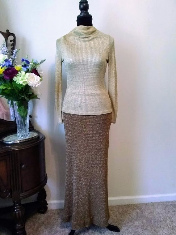 Vintage Dress   1970s   Nelly de Grab NY   Gold  … - image 2