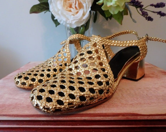 Vintage 70's Disco Shoes Bright Shiny Gold