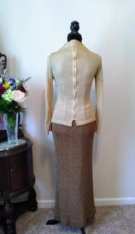 Vintage Dress   1970s   Nelly de Grab NY   Gold  … - image 3