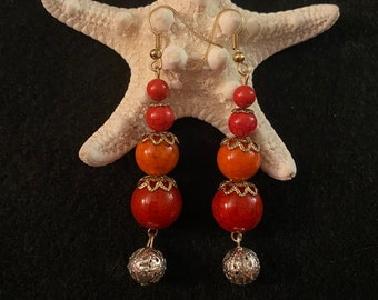 Red and Gold dangle earrings, blue and silver earrings, yellow and gold beaded earrings, red earrings with gold accents