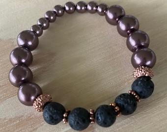 Beaded bracelet, Lava Stone Bracelet, stretch bracelet, brown beaded stretch bracelet, metallic brown stretch bracelet