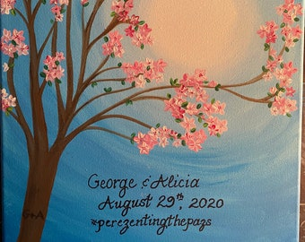 Personalized Wedding Gift, Wedding Art, Cherry Blossom Tree, Wedding Keepsake Wall art