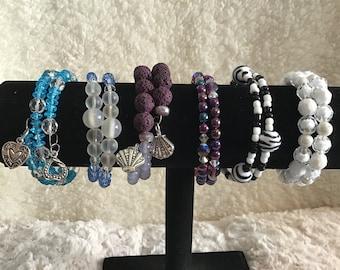 Bracelet for mom, memory wire bracelet, purple lava stone zebra memory wire Bracelet, Blue beaded memory wire bracelet,white beaded bracelet