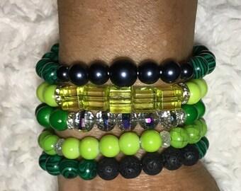 Bracelet for mom, Green Lava Stone Bracelets, Green stretch Bracelet, Lime Green Bracelet,