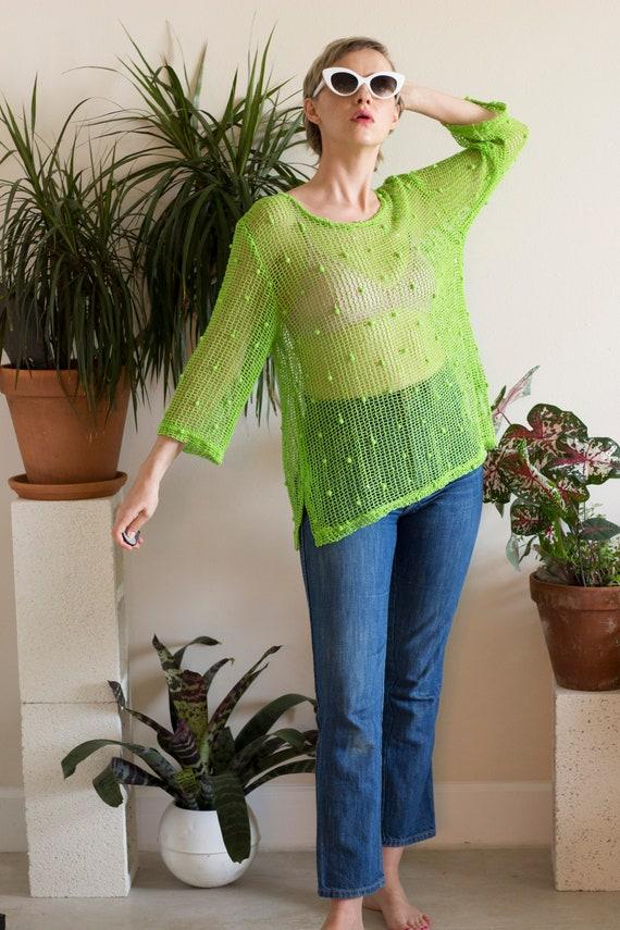 Y2K Lime Green Mesh Sequin Shirt - image 1