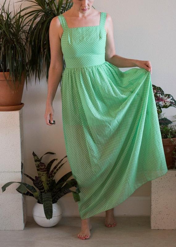 1960s Mint Polka Dot Sheer Maxi Dress