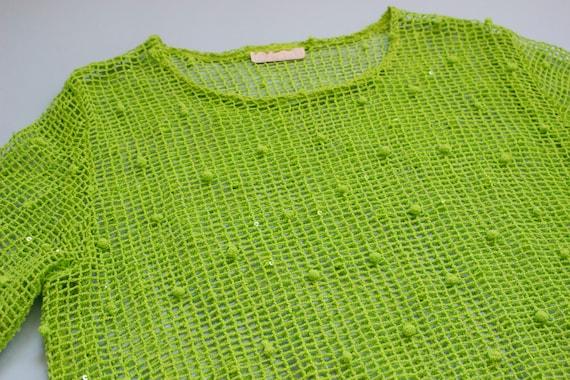 Y2K Lime Green Mesh Sequin Shirt - image 3