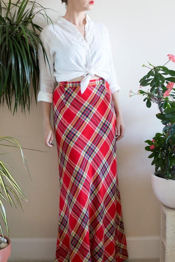 1970s Bias Cut Wool Plaid Maxi Skirt