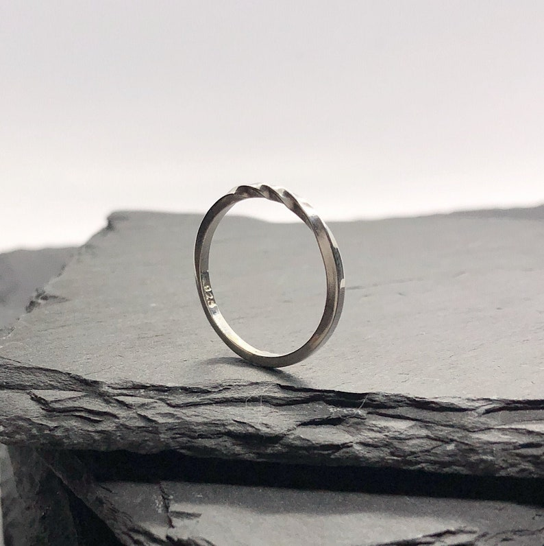 SWRIL STACKING TWISTED 2 MM Thick Band Ring Sterling Silver.925 Sizes 6 or 7