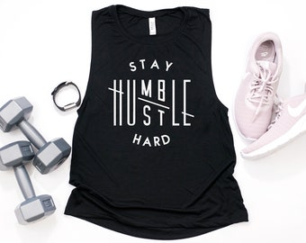 2d2ef4512b028f Stay Humble Hustle Hard Ladies Gym Tank Top Workout Tank Flowy Muscle Tank  Tee Trendy Gym Shirt Cute Exercise Shirt New Year Fitness