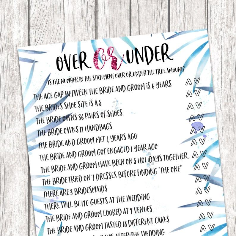 Over Or Under Bridal Shower Game  Printable Bridal Shower image 0