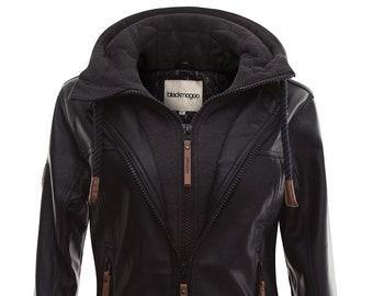 blackmogoo Faux Leather Moto Jackets for Women Slim Fit Windbreaker and Waterproof Hooded Bike Jacket Coats Black color