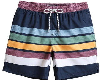 e73b8c5866 MaaMgic Mens Funny Colorful Striped Swim Trunks Cool Bathing Suits Slim Fit