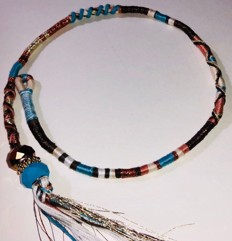 Turquoise tribe Bohemian style hair wrap accessory