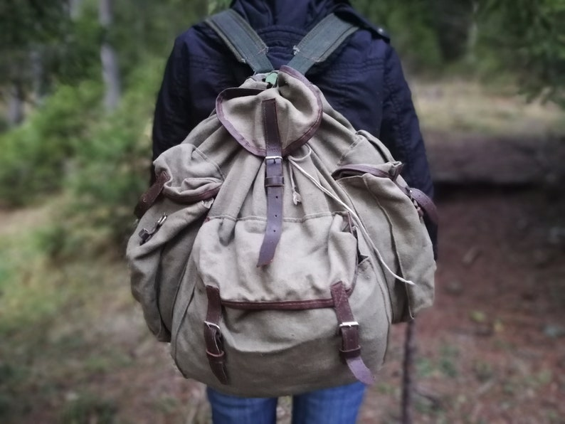 Vintage hiking backpack Hipster style Canvas backpack Green military backpack Travel bag Mountain backpack Distressed  backpack