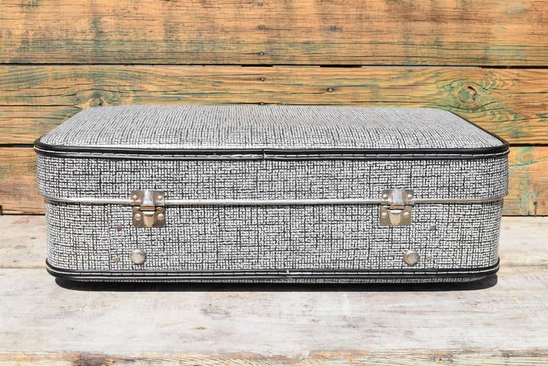 Old case with metal rivets and plastic handle Vintage suitcase from 80s Retro case Travel case Gray case Convenient luggage case