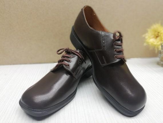 Vintage men's shoes - Brown genuine leather shoes