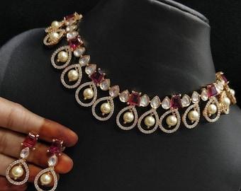 Kundan@AryaFashions Kundan Cubic Zirconia necklace Ruby necklace with American diamonds,Cubic Zirconia Kundan necklace with CZ earrings