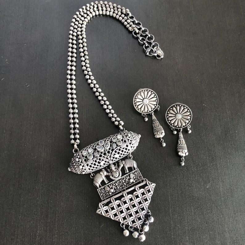 Silver Oxidized Long NecklaceAmrapali InspiredOxidized Silver NecklaceTribal Ethnic NecklaceOxidized BohemianTribal Necklace