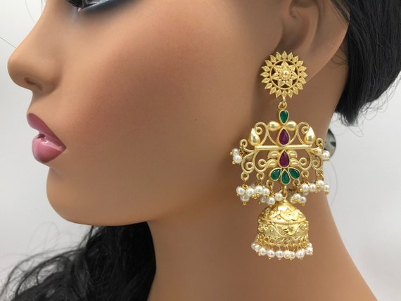 Ethnic Jhumka EarringsKundan JhumkaMatte GoldMulti Stone earringTribal JhumkaHandcarved EarringsTrendy JewelryEthnic Indian Earrings