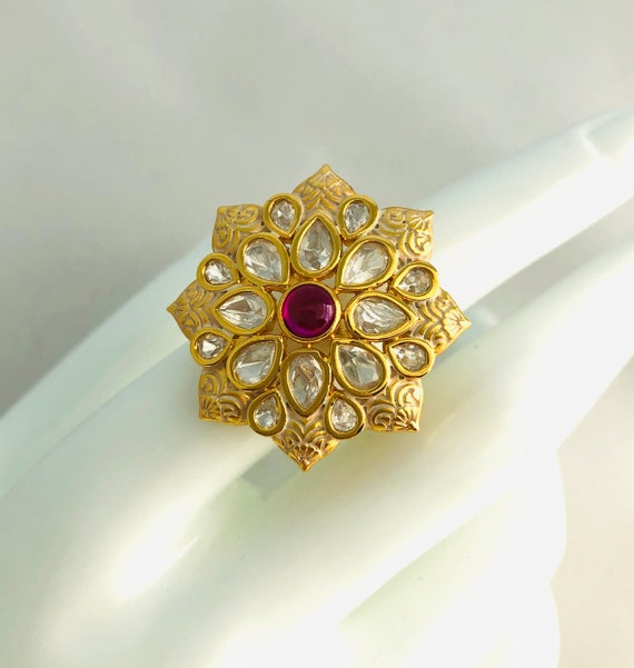 Big Kundan Ring Indian Ring Traditional Statement Ring Temple Jewellery Adjustable Boho Ring Indian Jewelry Tribal Jewelry  