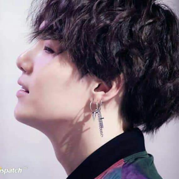 top brands low price sale amazing price BTS SUGA cross and chain earring Min Yoongi Kpop