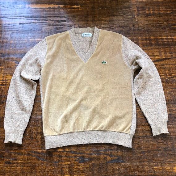 1970s Velour & Knit Lacoste V-Neck