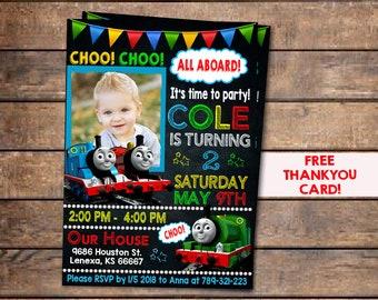 Thomas Train Birthday InvitationThomas Invitation With PhotoThomas InviteThomas BirthdayThomas Party