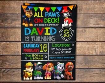 Paw Patrol Invitation Birthday Party Personalized Dogs Invite Digital File