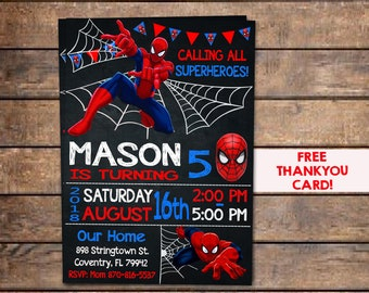 picture regarding Printable Spiderman Invitations named Spiderman invitation Etsy