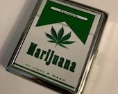Marijuana Weed Cannabis Ganja 420 Pot Hemp Cigarette Case Business Card ID Holder Wallet