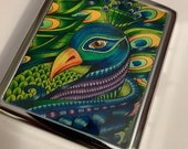 Beautiful Peacock Metal Cigarette Case Business Card ID Holder Wallet