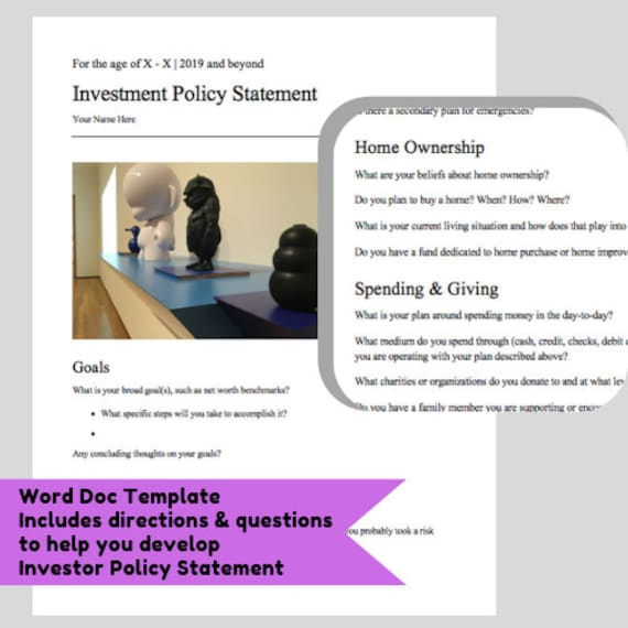 Investor Policy Statement Money Goals Template Etsy
