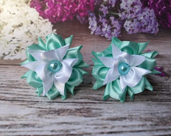 Lovely Pair Of Handmade Baby/toddler/girls Hair Bobbles Kanzashi Hair Accessories