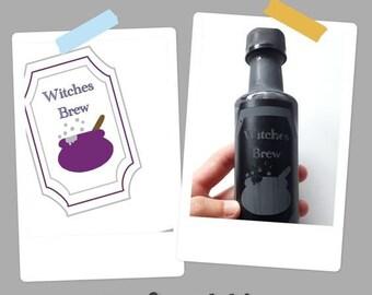 Witches Brew label   Halloween stencil sjabloon