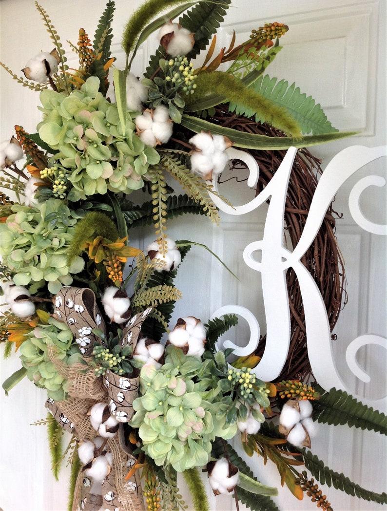 Cotton Wreath Personalized Wreath Fall Wreath Welcome Wreath Green Hydrangea Wreath Summer Wreath Front Door Wreath Everyday Wreath
